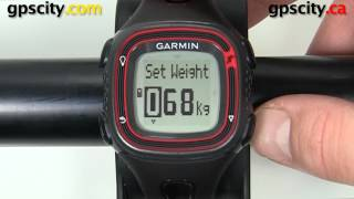 garmin forerunner 10: setting your weight