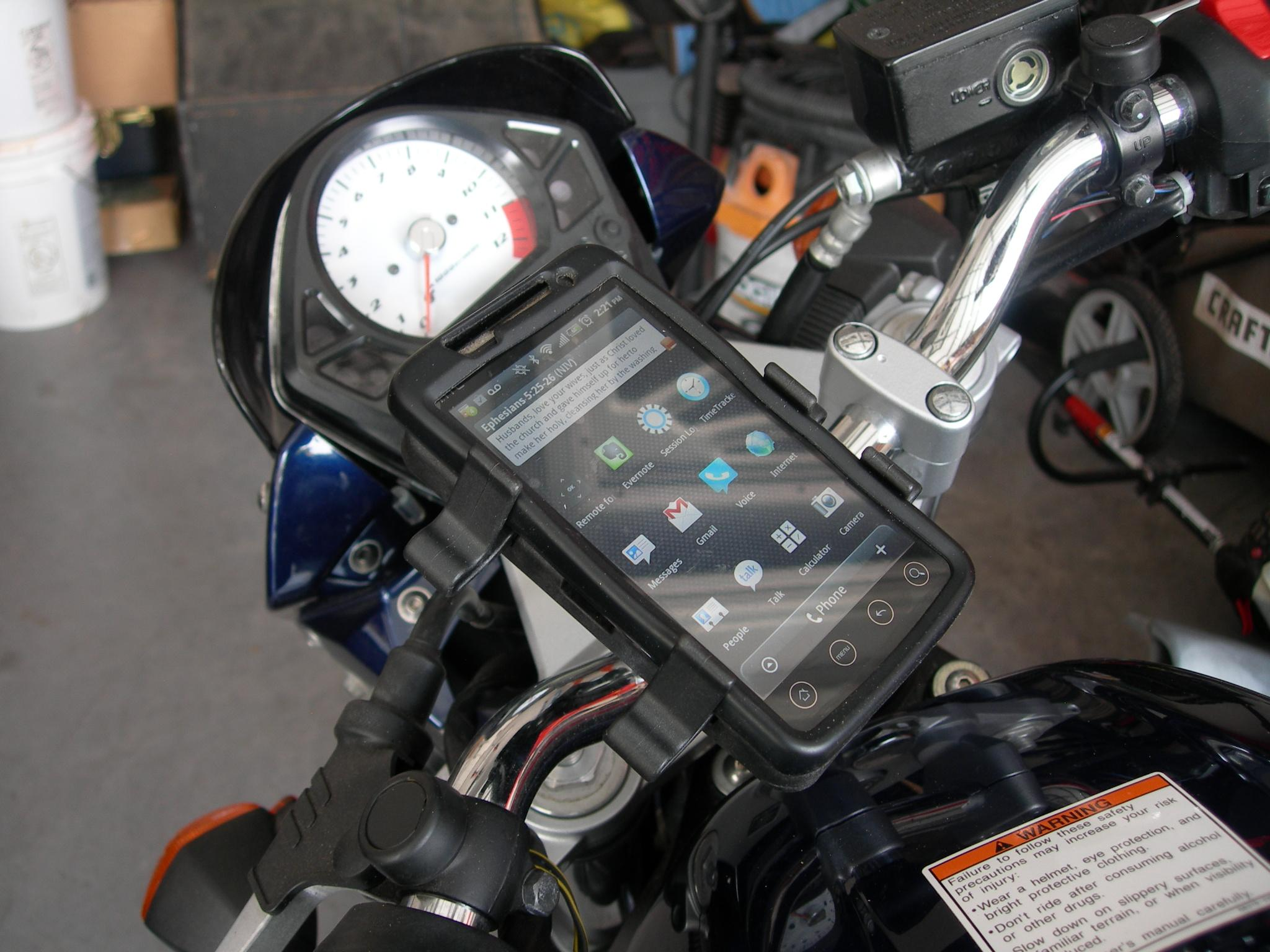 RAM Mount HTC EVO 4G on Suzuki motorcycle Gallery Article