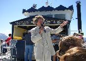 Mark Twain impersonator on paddlewheeler