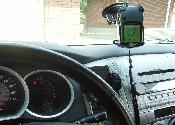 Front view of GPS attached to windshield