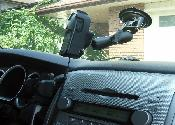 Side view of GPS attached to windshield