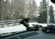 Suction camera mount inside windshield